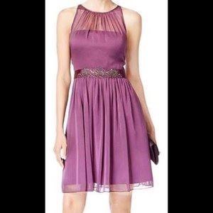 NWT Adrianna Papell Purple Chiffon Halter Dress 14